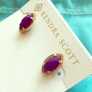 Kendra Scott Joey Earrings, Purple Jade and Gold, Studs